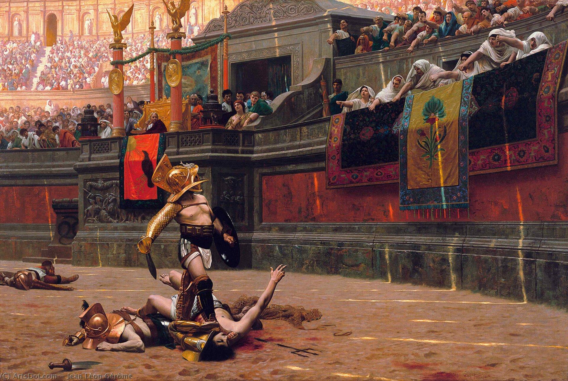 Ilustracja przedstawia rzymskich gladiatorów wtrakcie finału walki na arenie Colosseum. Na obrazie znajduje się zwycięzca, który czeka na decyzję widzów odnośnie tego co ma zrobić zżyjącym jeszcze pokonanym. Na arenie leżą martwi pozostali przegrani. Tłum oglądający walkę pokazuje kciuki skierowane do dołu oznaczające decyzję ozabiciu pokonanego. Na trybunie honorowej siedzi cesarz ze świtą.