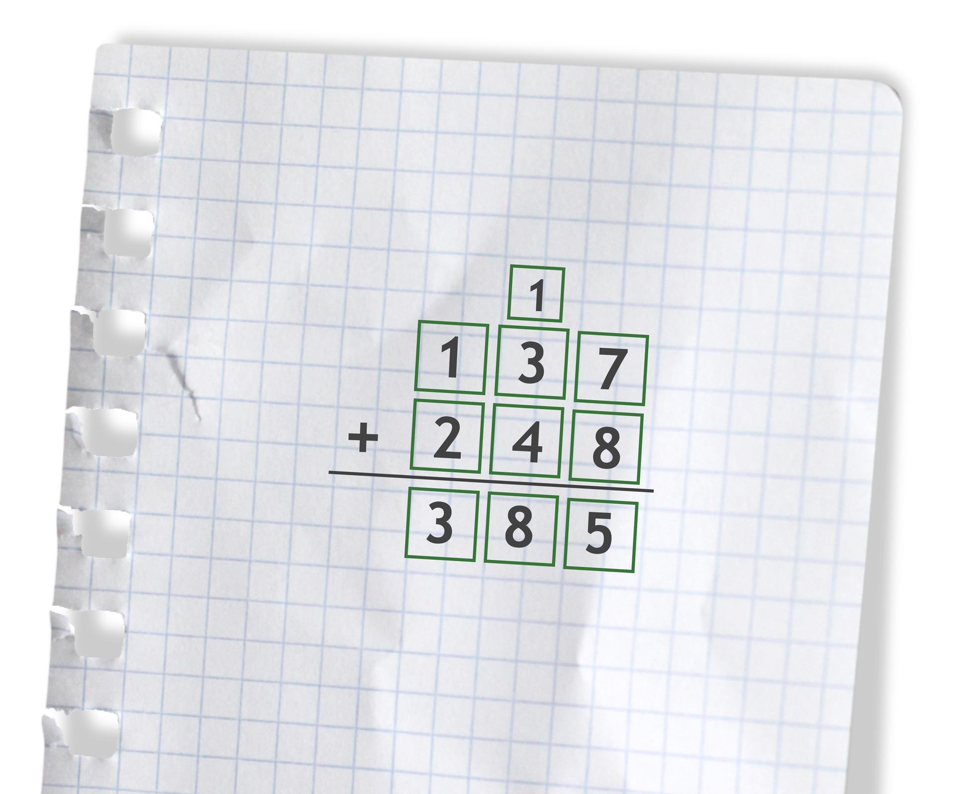 Przykład: 137 +248 =385. Rozwiązanie zadania podpunkt a.
