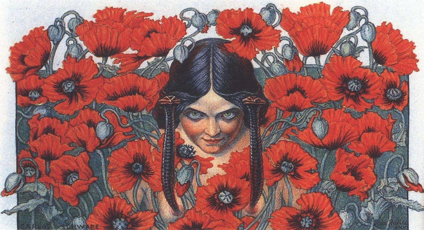 Zniszczenie Carlos Schwabe,Zniszczenie, ilustracja do Kwiatów zła Charlesa Baudelaire'a, Źródło: Carlos Schwabe, Zniszczenie, licencja: CC 0.