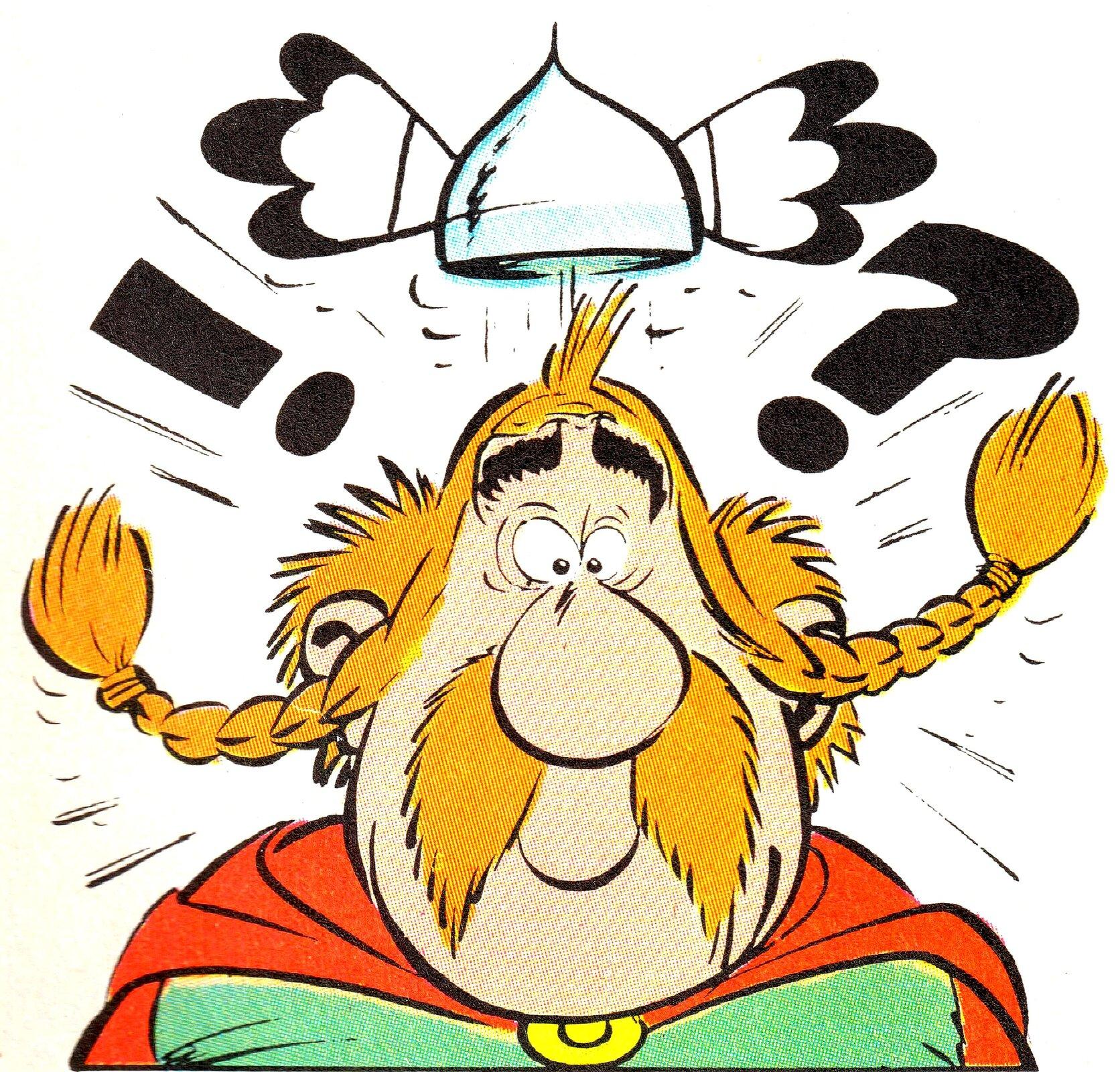 """Ilustracja przedstawia fragment komiksu """"Asterix legionista"""". Ukazuje jednego zbohaterów okrągłych rysach twarzy zzaplecionymi warkoczami, nad którym pojawiają się wykrzyknik iznak zapytania, wyrażające dezorientację. Stan bohatera podkreśla unoszący się hełm ze skrzydełkami."""