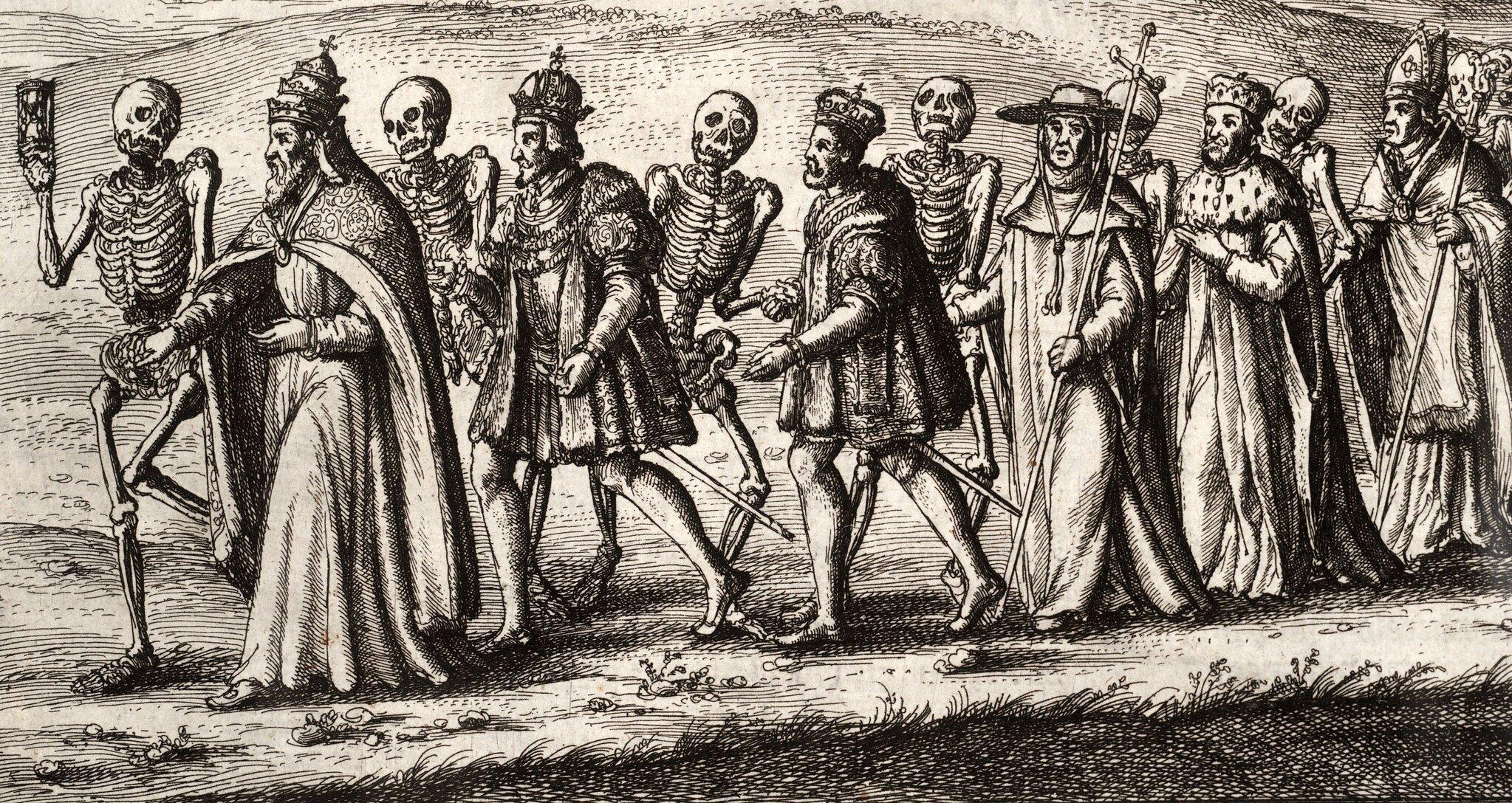 Pochód tańca śmierci Źródło: Wenceslas Hollar, Pochód tańca śmierci, Thomas Fisher Rare Book Library, Toronto, domena publiczna.