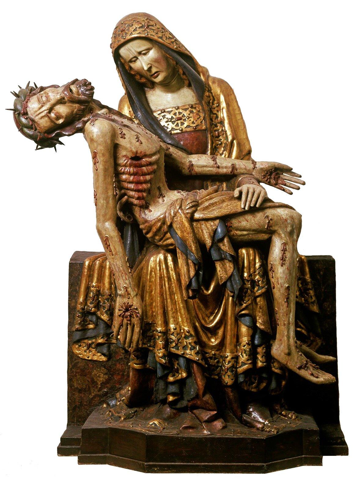 Pietà zLubiąża Źródło: Pietà zLubiąża, ok. 1370, polichromia na drewnie, Muzeum Narodowe wWarszawie, licencja: CC 0 1.0.
