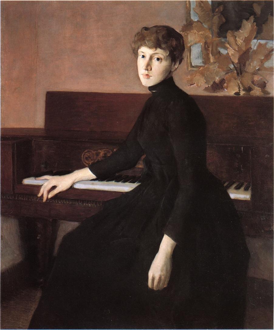 Julian Alden Weir, Przy pianinie, 1903 Źródło: wikiart, Julian Alden Weir, Przy pianinie, 1903, licencja: CC 0.