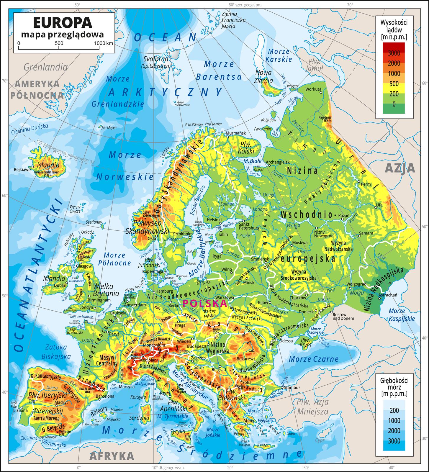 Ilustracja przedstawia mapę hipsometryczną Europy. Wobrębie lądów występują obszary wkolorze zielonym, żółtym, pomarańczowym iczerwonym. Morza zaznaczono kolorem niebieskim. Kontynent europejski zajmuje centralną część mapy. Sąsiadujące zEuropą widoczne na mapie części innych kontynentów zaznaczono kolorem beżowym. Na mapie opisano nazwy kontynentów, półwyspów, wysp, głównych nizin, wyżyn ipasm górskich, oceanów, mórz, głównych rzek ijezior. Oznaczono białymi kropkami iopisano główne miasta. Mapa pokryta jest równoleżnikami ipołudnikami. Dookoła mapy wbiałej ramce opisano współrzędne geograficzne co dziesięć stopni. Po prawej stronie mapy na górze wlegendzie umieszczono prostokątny pionowy pasek. Pasek podzielono na siedem części. Ugóry – czerwony iciemnopomarańczowy, dalej pomarańczowy, jasnopomarańczowy iżółty, jasnozielony iciemnozielony. Opisano poziomice: zero metrów (poziom morza), dwieście metrów powyżej poziomu morza, pięćset metrów powyżej poziomu morza, tysiąc metrów powyżej poziomu morza, dwa tysiące metrów powyżej poziomu morza, trzy tysiące metrów powyżej poziomu morza. Po prawej stronie mapy na dole wlegendzie umieszczono prostokątny pionowy pasek. Pasek podzielono na pięć części. Odcieniami koloru niebieskiego oznaczono głębokości mórz. Wlegendzie opisano izobaty: dwieście metrów poniżej poziomu morza, tysiąc metrów poniżej poziomu morza, dwa tysiące metrów poniżej poziomu morza, trzy tysiące metrów poniżej poziomu morza.