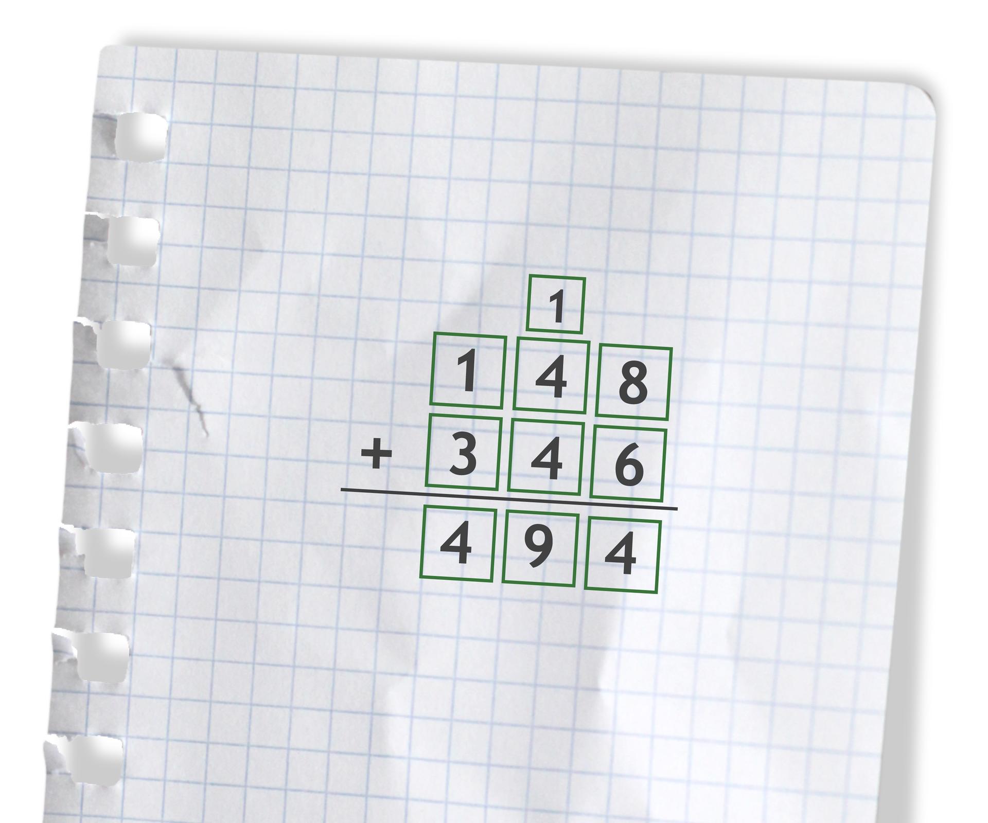Przykład: 148 +346 =494. Rozwiązanie zadania podpunkt b.