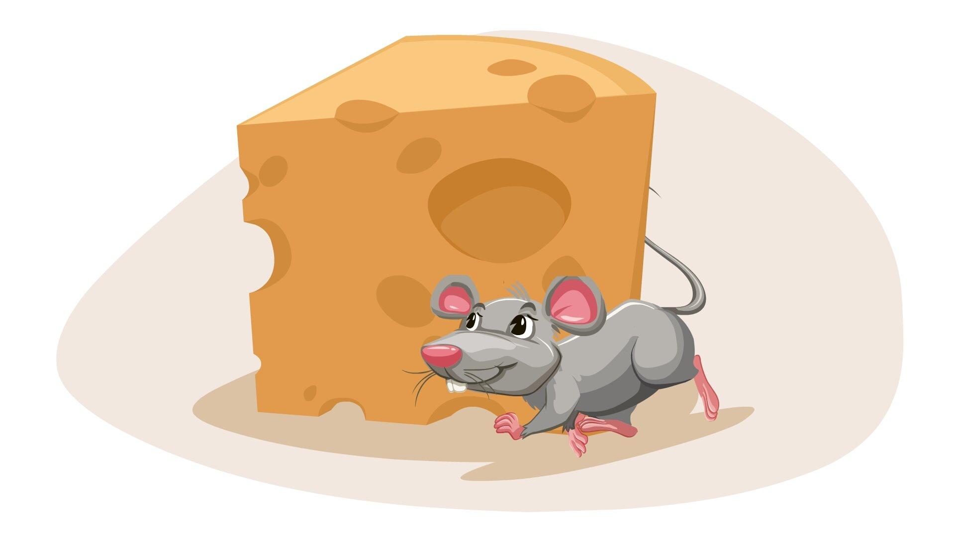Ilustracja przedstawia mysz idącą przed serem.