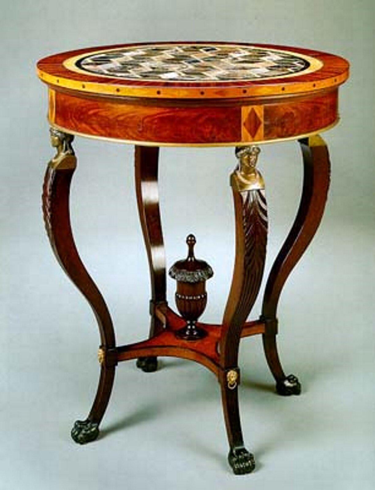 Ilustracja przedstawia stolik. Stolik jest brązowy, wykonany zdrewna, posiada wygięte nóżki oraz okrągły blat. Pod blatem wmiejscu łączenia blatu znóżkami, znajdują się pozłacane pólpiersia.