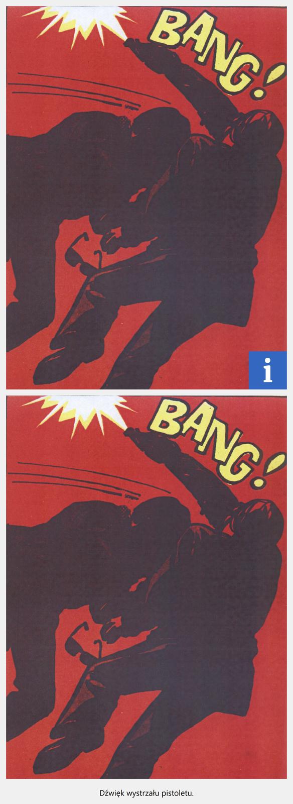 """Ilustracja interaktywny przedstawia fragment komiksu """"Kapitan Żbik. Zapalniczka zpozytywką"""". Ukazuje dwóch mężczyzn podczas bijatyki. Mężczyzna zlewej strony wpada zimpetem wdrugiego, który strzela zpistoletu. Nad nimi znajduje się żółty wyraz BANG! Tło jest czerwone. Pod ilustracją znajduje się plik dźwiękowy przedstawiający odgłos wystrzału zpistoletu."""