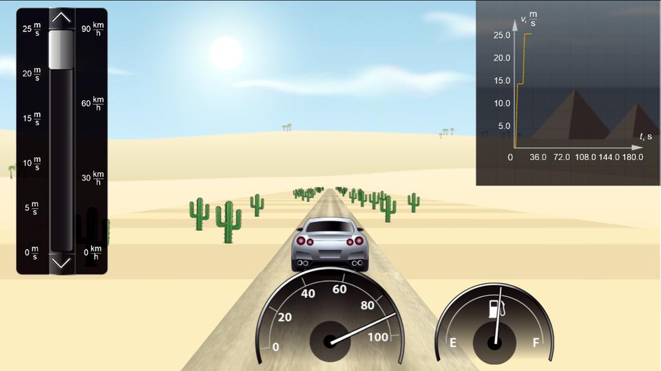 """Aplikacja symulator ruchu zmiennego. Tło jasne, krajobraz pustynny. Wtle słońce na błękitnym niebie. Udołu srebrny samochód na drodze. Wzdłuż drogi rosną zielone kaktusy. Użytkownik może za pomocą suwaka znajdującego się po lewej stronie zmieniać prędkość jadącego samochodu od 0 km/h do 90 km/h. Po środku na dole ekranu znajdują się dwa wskaźniki – wskaźnik szybkości iwskaźnik poziomu paliwa. Wskazówka na pierwszym wskaźniki pokazuje prędkość zgodną zustawioną na suwaku po lewej stronie. Wprawym górnym rogu widnieje wykres prędkości od czasu, który wtrakcie jazdy aktualizowany jest na bieżąco. Wskazówka poziomu paliwa na początku ustawiona jest na końcu skali, zkażdą kolejną sekundą jazdy opada. Gdy opadnie na początek skali, samochód zatrzymuje się. Pojawia się informacja """"Koniec jazdy! Brak paliwa… Zapoznaj się zwykresem prędkości samochodu!""""."""