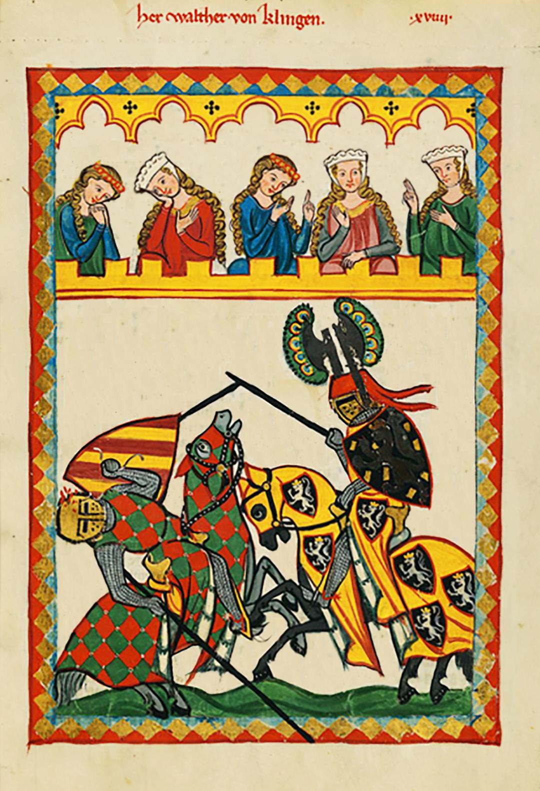 Turniej rycerski Turniej rycerski Źródło: Kodeks Manesse, około 1320 roku, miniatura, domena publiczna.