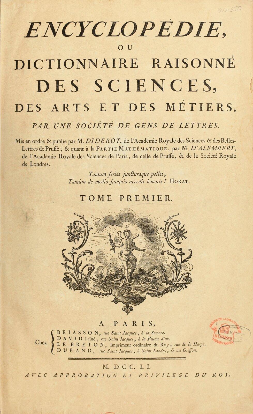 Kartatytułowa Itomu Wielkiej encyklopedii francuskiej Kartatytułowa Itomu Wielkiej encyklopedii francuskiej Źródło: ok. 1751–1772, domena publiczna.