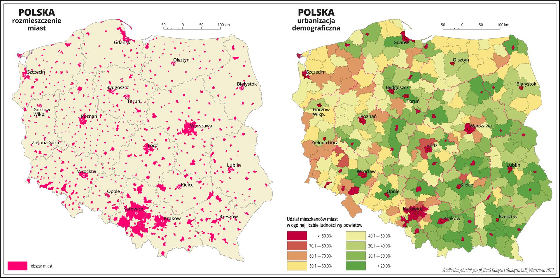 Ilustracja przedstawia dwie mapy Polski. Pierwsza mapa przedstawia rozmieszczenie miast wPolsce. Oznaczono je kolorem czerwonym, zachowując zarysy kształtów miast. Największe skupisko miast występuje wwojewództwie śląskim. Najmniejsza liczba miast występuje wwojewództwach wschodnich ipółnocnych. Na drugiej mapie przedstawiono udział mieszkańców miast wogólnej liczbie ludności według powiatów. Granice województw zaznaczone są czerwoną linią. Granice powiatów zaznaczone są czarną linią. Odcieniami koloru czerwonego, pomarańczowego iżółtego oznaczono powiaty, wktórych udział mieszkańców miast wogólnej liczbie mieszkańców przekracza pięćdziesiąt procent, aodcieniami koloru zielonego przedstawiono powiaty, wktórych udział ludności miejskiej wynosi poniżej pięćdziesięciu procent. Kolor zielony dominuje wpołudniowej iwschodniej części kraju. Najciemniejszy odcień koloru czerwonego obrazujący ponad osiemdziesięcioprocentowy udział ludności miejskiej występuje wpowiatach na prawach miejskich iwprzeważającej części województwa śląskiego. Jaśniejsze odcienie koloru czerwonego ikolor pomarańczowy przeważają wwojewództwach zachodnich. Czerwonymi kropkami zaznaczono miasta wojewódzkie. Po lewej stronie mapy na dole wlegendzie umieszczono kolorowe prostokąty iopisano udział mieszkańców miast wogólnej liczbie ludności. Kolory czerwone, pomarańczowe iżółte obrazują powyżej pięćdziesięciu procent, akolory zielone – poniżej pięćdziesięciu procent.