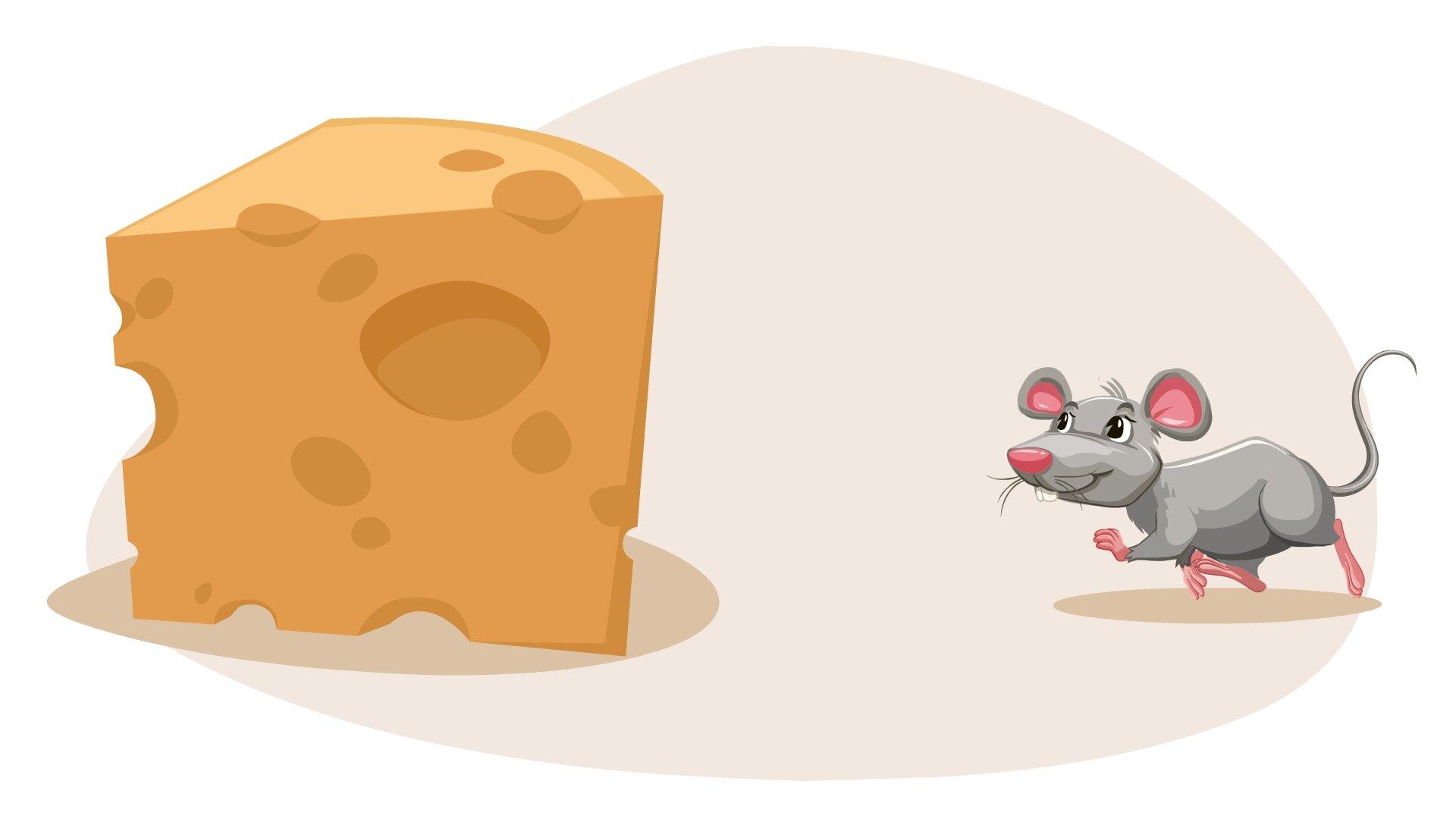 Ilustracja przedstawia mysz obok sera.