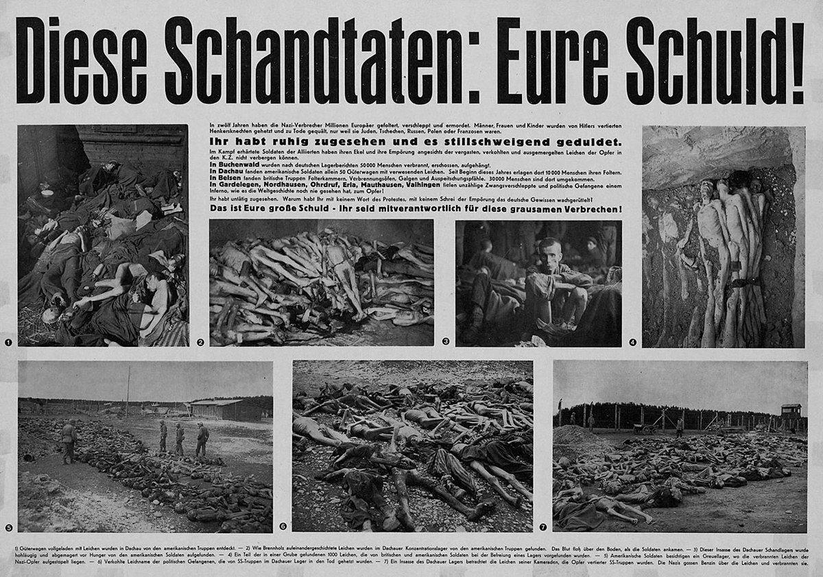"""Ilustracja 1.Plakat znapisem: """"Te okrucieństwa: wasza wina!"""", 1945 r."""