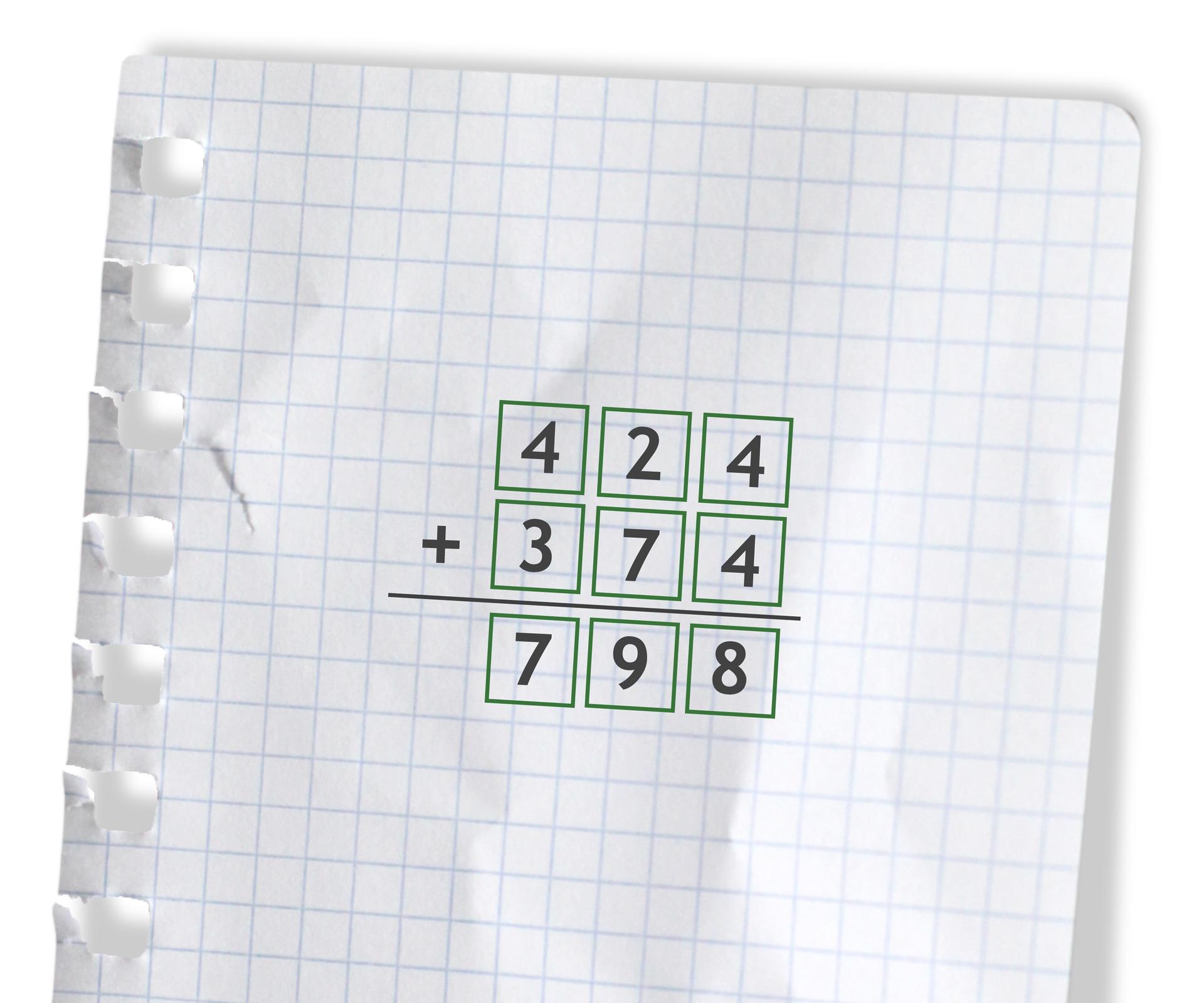 Przykład: 424 +374 =798. Rozwiązanie zadania podpunkt f.