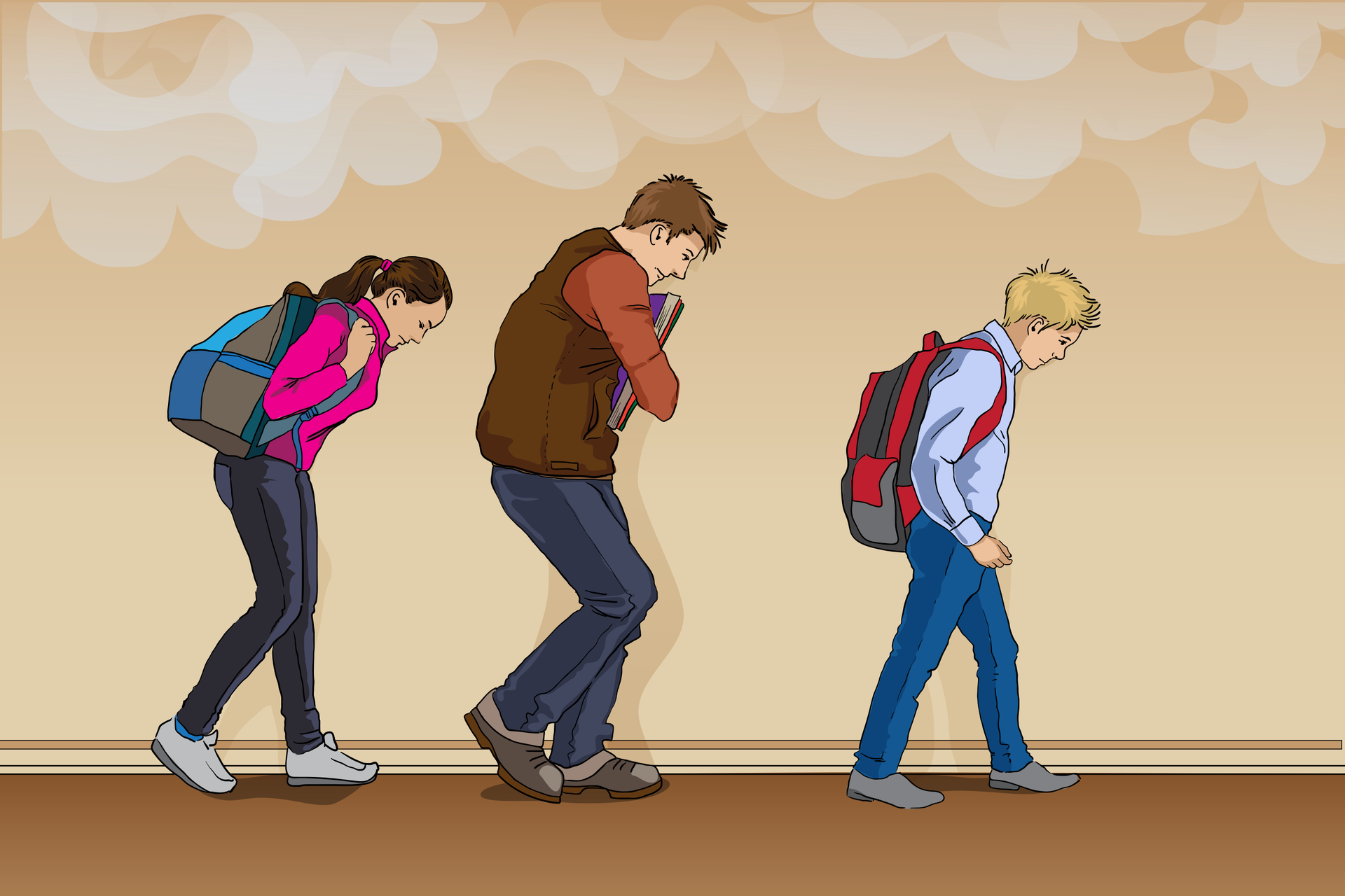 Rysunek przedstawia korytarz oglądany zboku. Wnętrze jest już mocno zadymione, uczniowie idą schyleni, trzymając głowy nisko iponiżej widocznej warstwy dymu. Cała trójka przemieszcza się przy ścianie, nie wychodząc na środek korytarza.