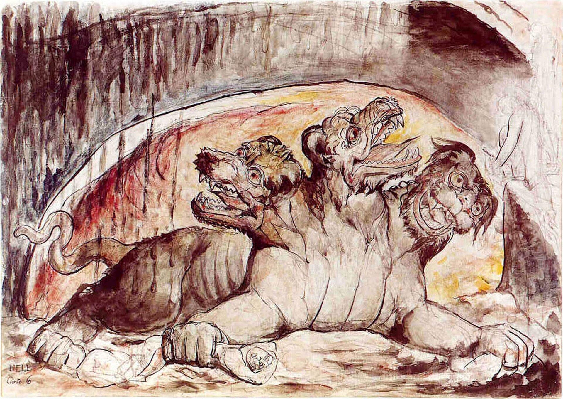"""Ilustracja przedstawia obraz Williama Blake pt. """"Cerberus"""". Na obrazie znajduje się trzygłowy pies - cerber."""