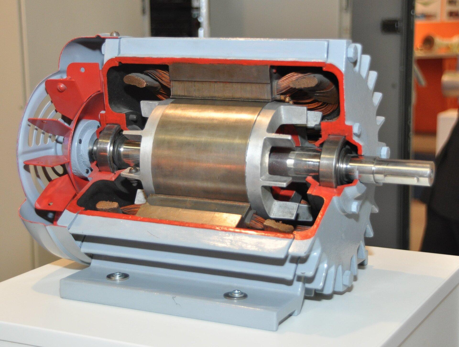 На фото представлена демонстрационная часть электродвигателя. примерно треть корпуса срезана, чтобы показать внутреннюю структуру устройства. В центральной части находится ротор, т.е. вращающаяся часть. Он имеет форму длинного вала, к которому прикреплен металлический цилиндр неправильной формы, окруженный листом, который действует как коммутатор. Коммутатор вверху и внизу поперечного сечения контактирует с металлическими щетками, к которым подключен пучок электрических кабелей. Внешняя часть корпуса двигателя окрашена в серебристый цвет, а внутренняя часть выделена красным.