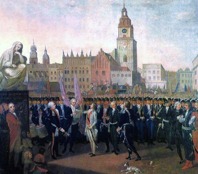 Przysięga Kościuszki na rynku krakowskim 24 marca 1794 Źródło: Franciszek Smuglewicz, Przysięga Kościuszki na rynku krakowskim 24 marca 1794, domena publiczna.