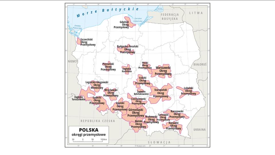Na ilustracji mapa Polski zpodziałem na województwa. Zaznaczono iopisano okręgi przemysłowe. Największe skupiska okręgów przemysłowych na południu kraju. Najechanie kursorem na okręg otwiera ramkę zinformacjami odanym okręgu. Opisano państwa sąsiadujące. Mapa zawiera siatkę południków irównoleżników, które opisane są wramce mapy.