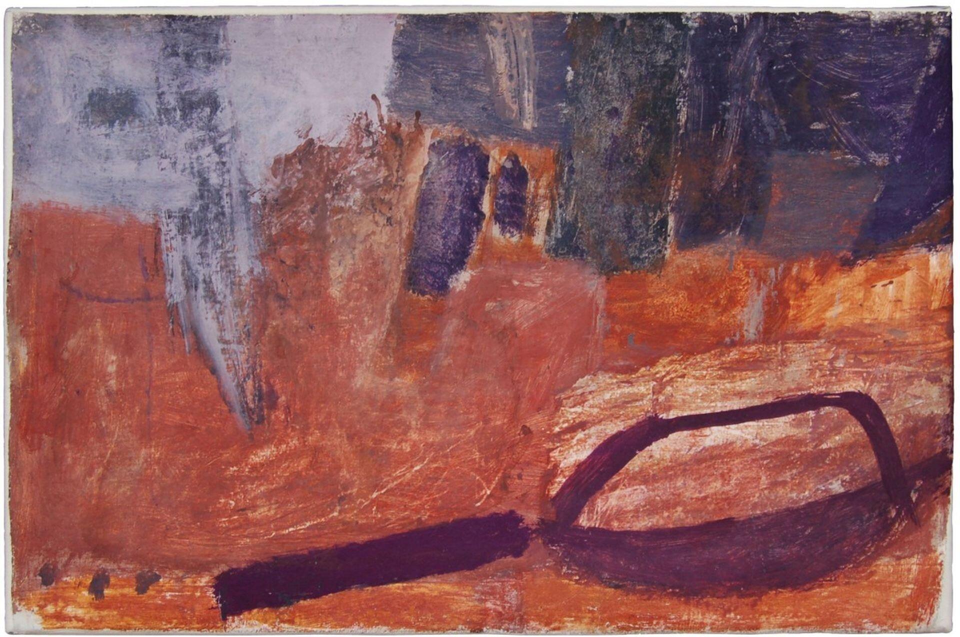 """Ilustracja przedstawia obraz Tadeusza Piotra Potworowskiego pt. """"Kompozycja"""". Nai lustracji widoczna jest rzecz kształtem przypominająca sierp lub leżącą patelnię. Rzecz ta jest brązowa, zwidoczną rękojeścią, ileży na brązowo-pomarańczowym tle."""