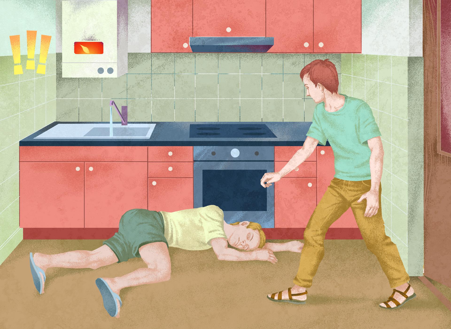 Ilustracja 2: Ilustracja przedstawia próbę udzielania pierwszej pomocy wkuchni. Na podłodze wkuchni leży nieprzytomny mężczyzna. Za mężczyzną, wzdłuż ściany, meble kuchenne. Głowa mężczyzny skierowana wstronę mebli kuchennych. Na ścianie, po lewej stronie, zawieszony bojler. Wotworze palący się płomień. Na lewo od bojlera trzy żółte wykrzykniki. Po prawej stronie ilustracji drugi mężczyzna wchodzący do kuchni.