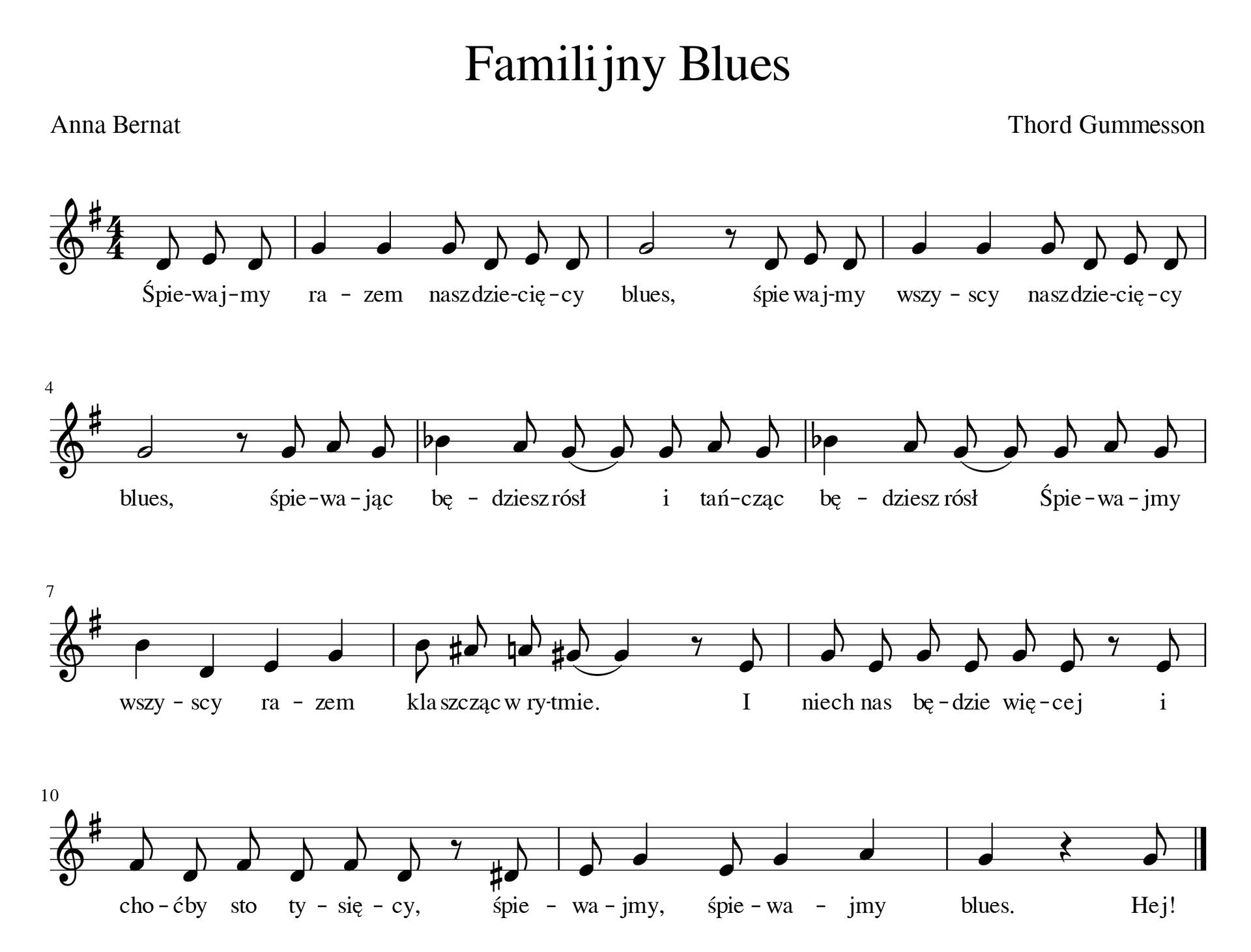 Zapis nutowy piosenki familijny blues. Piosenka wtonacji G-dur wmetrum cztery czwarte. Utwór rozpoczyna się przedtaktem składającym się ztrzech ósemek.