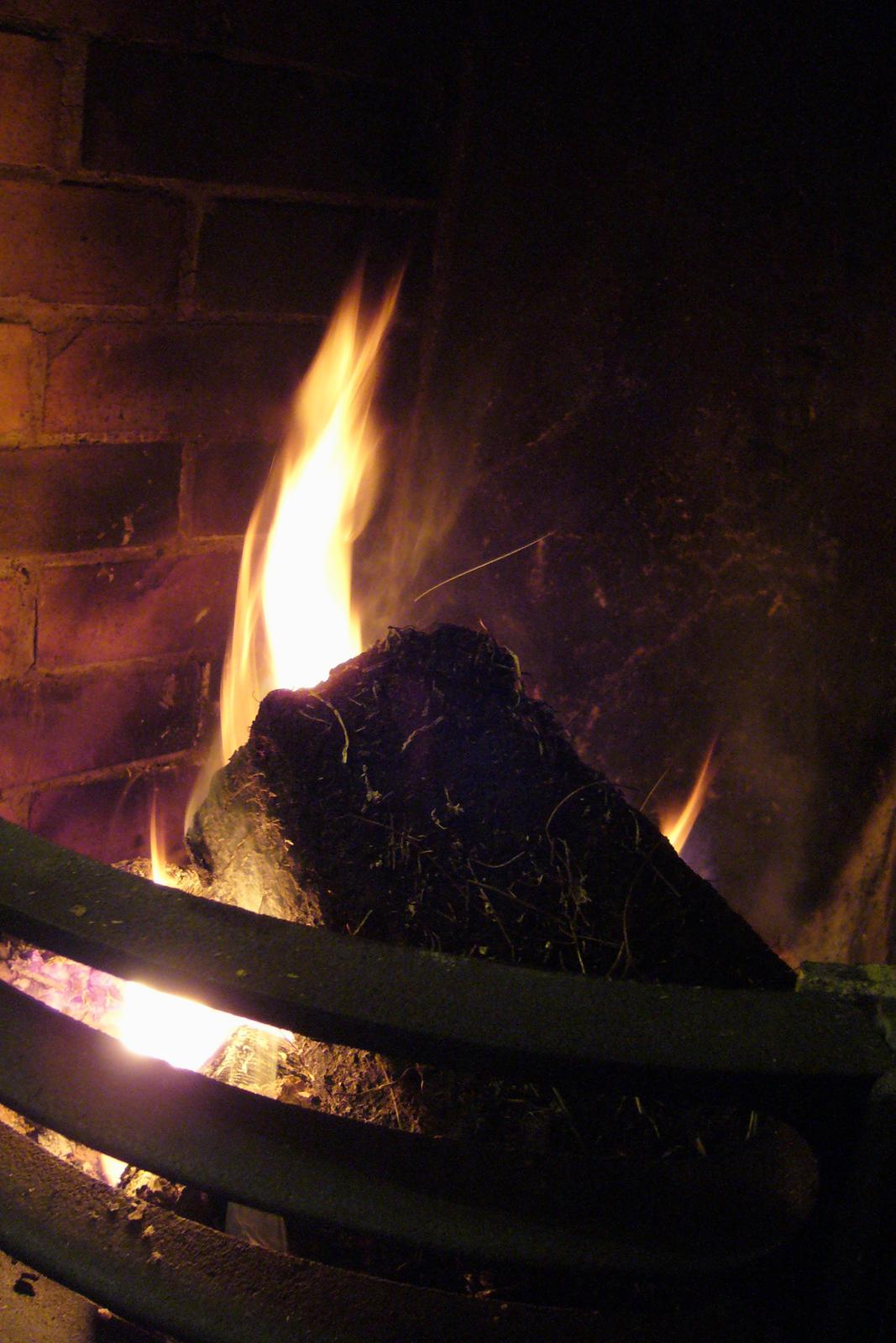 Fotografia przedstawia ceglane palenisko, osłonięte zprzodu trzema metalowymi sztabami. Wpalenisku płonie bryła torfu. Torf jest tu surowcem energetycznym.