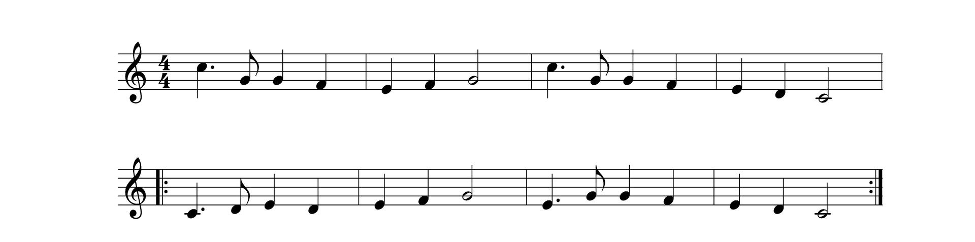 Zapis nutowy składa się z2 pięciolinii - 8 taktów. Poszczególne dźwięki wzapisie to c2, g, g,f, e, f, g, c2, g, g, f, e, d, c. c,d,e,d,e,f,g,e,g,g,f,e,d,c.
