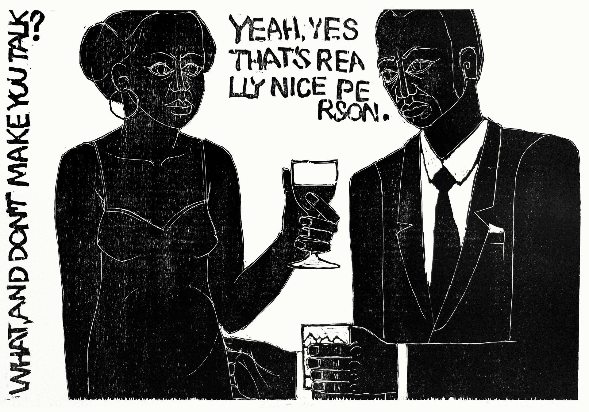Czarno - biała ilustracja przedstawiająca kobietę imężczyznę, który są zwróceni ku sobie. Mężczyzna wręku trzyma szklankę, akobieta kieliszek.