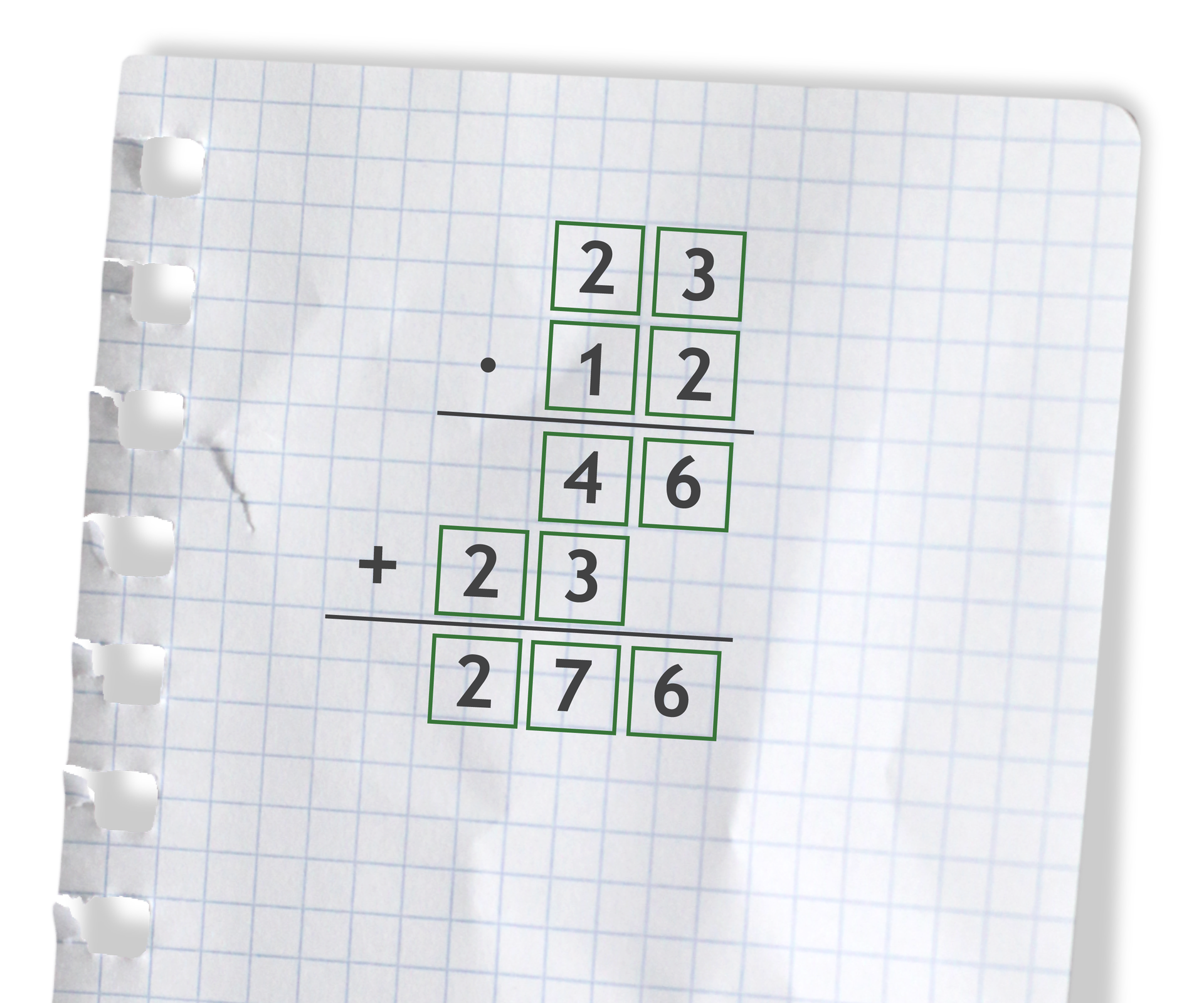Przykład: 23 razy 12 =276. Rozwiązanie zadania podpunkt b.