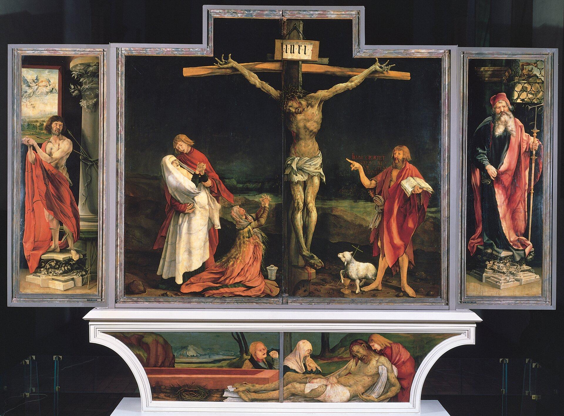 Ołtarz zIsenheim (Francja) Źródło: Matthias Grünewald, Ołtarz zIsenheim (Francja), 1506–1515, domena publiczna.
