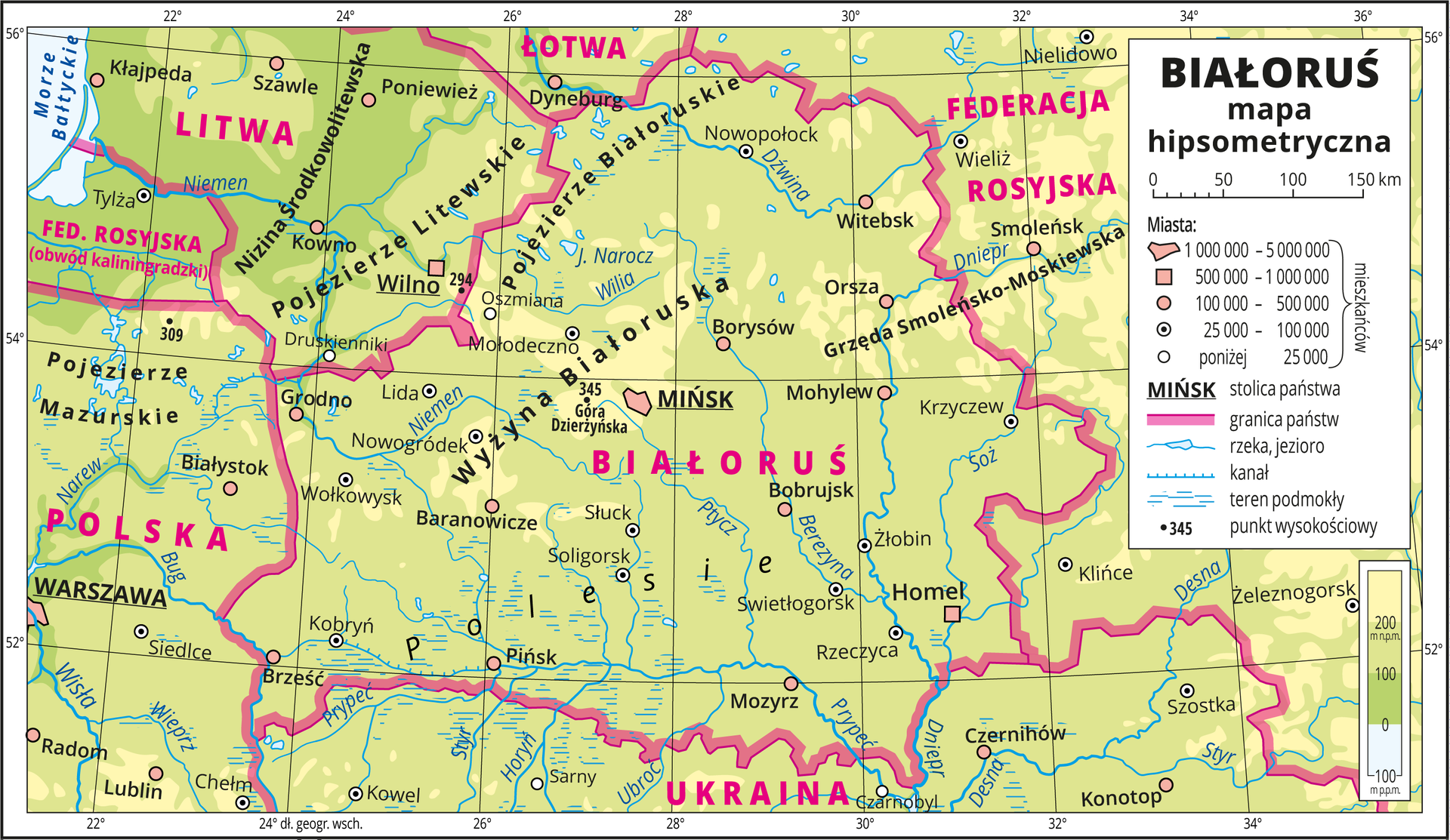 Ilustracja przedstawia mapę hipsometryczną Białorusi. Wobrębie lądów występują obszary wkolorze zielonym iżółtym. Wlewym górnym rogu mapy fragment Morza Bałtyckiego zaznaczono kolorem niebieskim iopisano. Na mapie opisano nazwy nizin iwyżyn, rzek ijezior. Oznaczono iopisano główne miasta. Oznaczono czarnymi kropkami iopisano punkty wysokościowe. Różową wstążką przedstawiono granice państw. Kolorem czerwonym opisano państwa sąsiadujące zBiałorusią. Mapa pokryta jest równoleżnikami ipołudnikami. Dookoła mapy wbiałej ramce opisano współrzędne geograficzne co dwa stopnie. Wlegendzie umieszczono iopisano znaki użyte na mapie.
