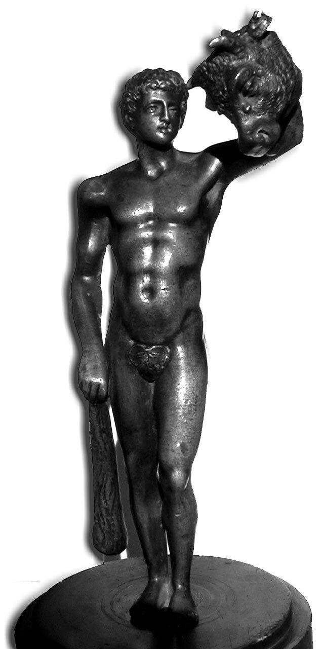 Tezeusz zgłową Minotaura Tezeusz zgłową Minotaura Źródło: ok. 1800, fotografia barwna, licencja: CC BY-SA 3.0.