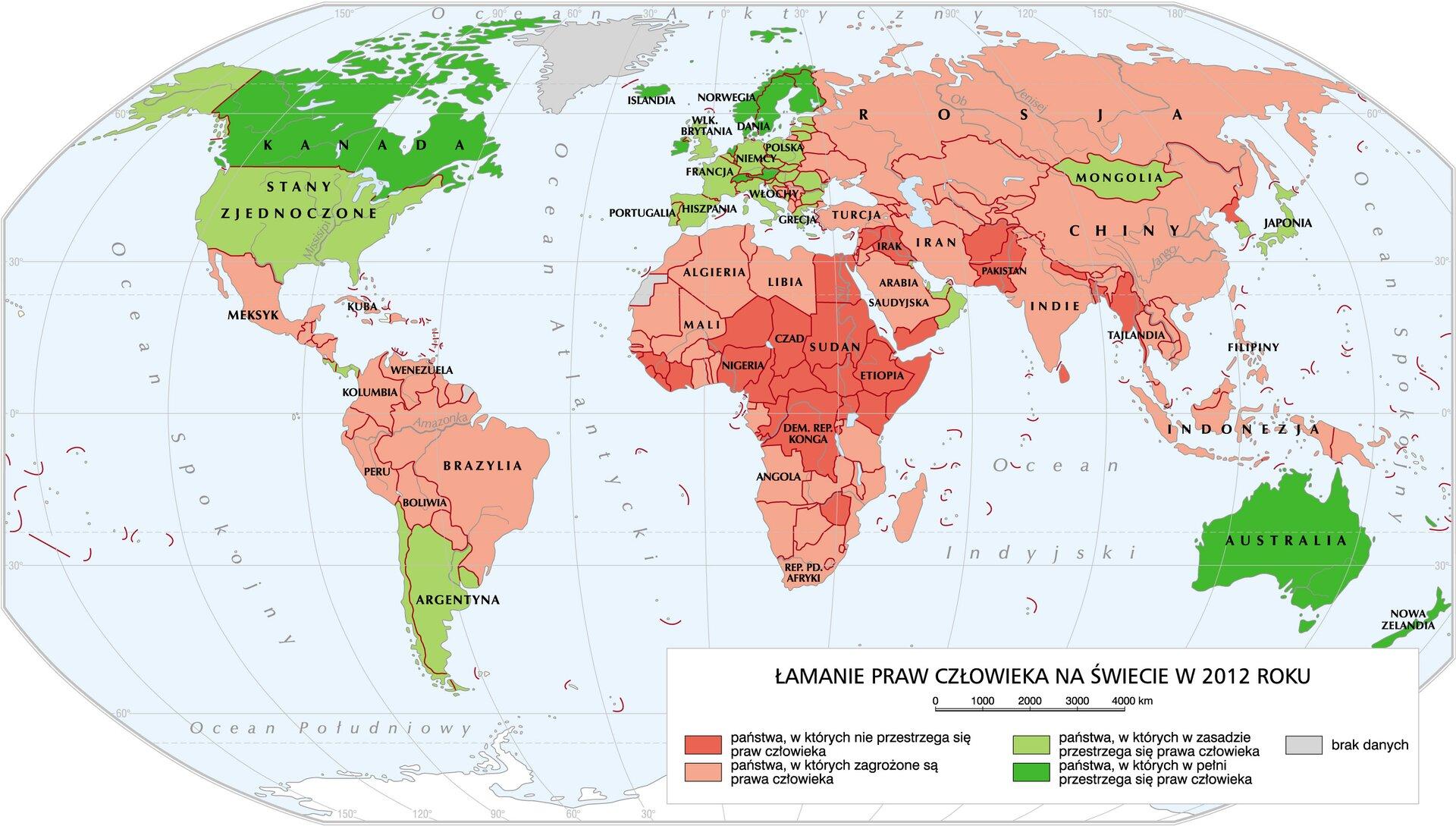 mapaŁamanie praw człowieka na świecie