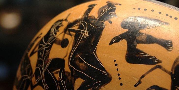 Herakles uwalnia Prometeusza Źródło: Artysta nieznany, Herakles uwalnia Prometeusza, 500 p.n.e., malarstwo wazowe, Muzeum wLuwrze, domena publiczna.