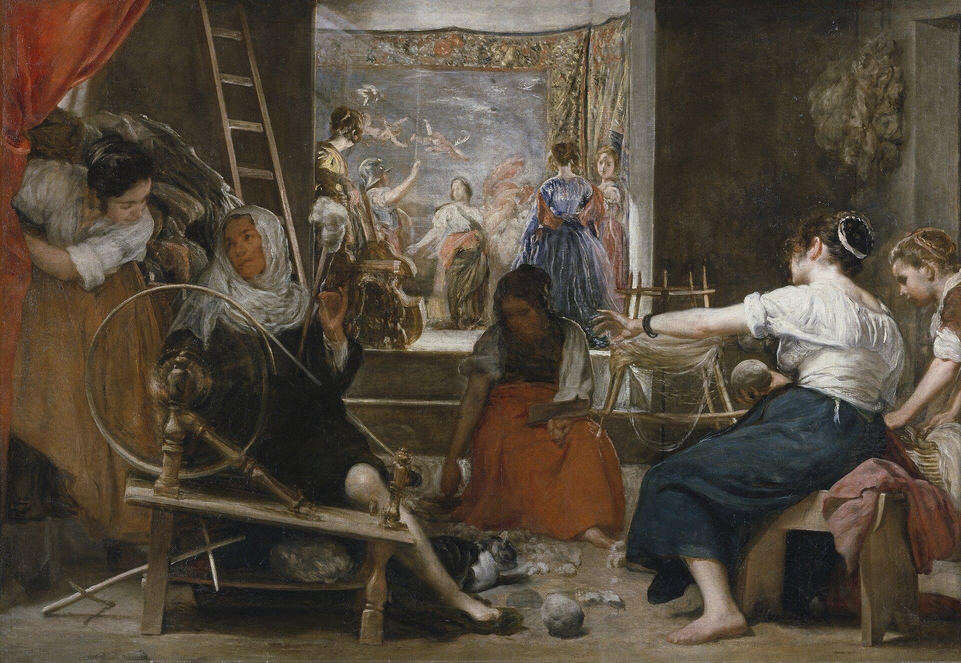 """Dzieło Diego Velazqueza """"Pracownia Arachne"""" przedstawia grupę kobiet podczas pracy wpracowni tkackiej. Na pierwszym planie widocznych jest 5 kobiet. Pomiędzy nimi na podłodze leży kot. Po lewej stronie przy kołowrotku siedzi starsza kobieta wchuście zakrywającej jej włosy. Tuż za nią stoi młoda dziewczyna, która nachyla się do niej irozmawia. Pośrodku obrazu znajduje się kobieta zbierająca zpodłogi pozostałości przędzy. Po lewej stronie, tyłem do widza siedzi kolejna prządka. Obok niej młoda kobieta stawia kosz. Wcentralnej części dzieła, wosobnym pomieszczeniu znajdują się bogato ubrane kobiety oglądające to, co jest dziełem pracowni Arachne."""