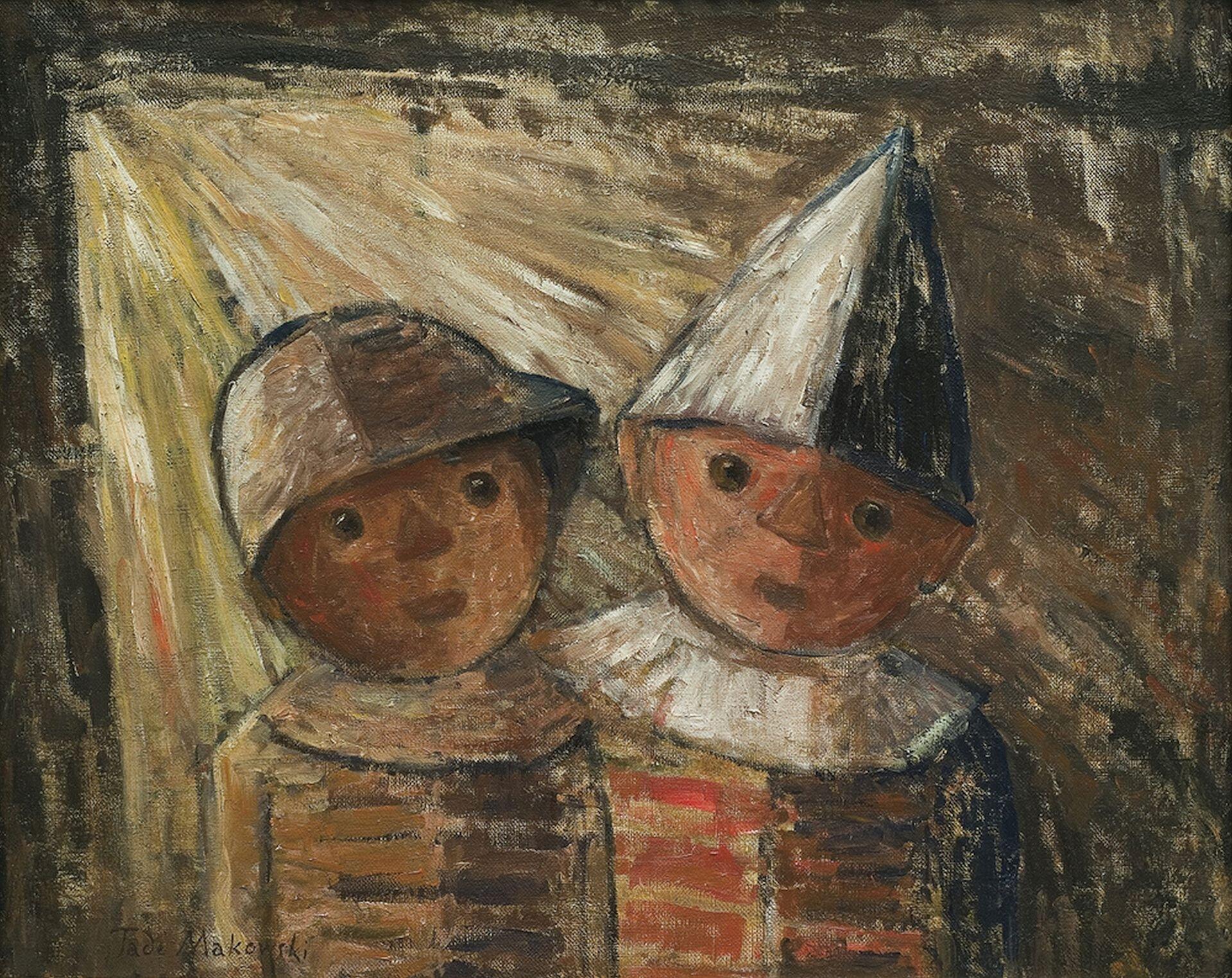 """Ilustracja przedstawia obraz Tadeusza Makowskiego pt. """"Dwoje dzieci"""". Na ilustracji przedstawiono postacie dwóch chłopców. Jeden znich ubrany jest wstożkowy kapelusz, drugi chłopiec ma kapelusz wstylu łupiny od orzecha. Chłopcy stoją na brązowym tle. Jeden zchłopców ubrany jest wczerwony strój, adrugi wbrązowy."""