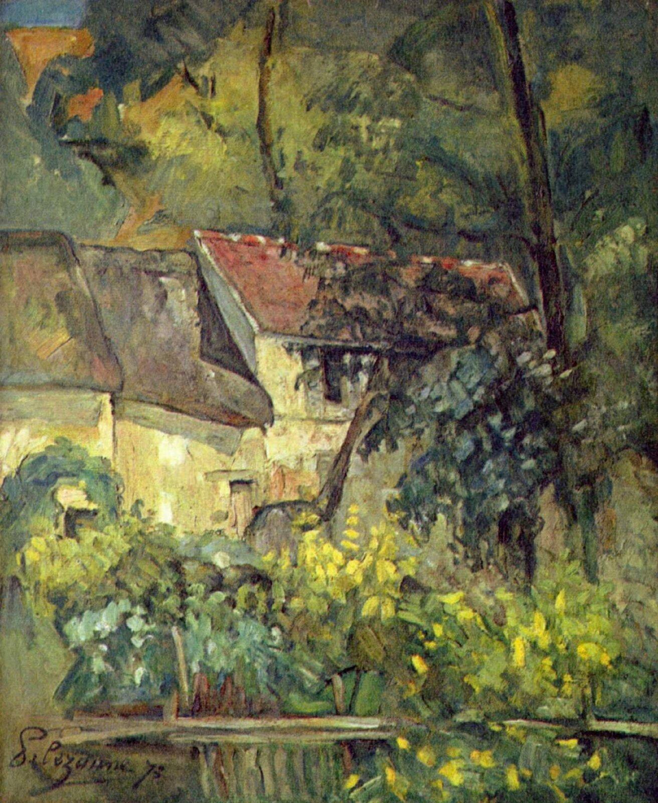"""ilustracja przedstawia obraz Paula Cézanne'a """"Dom Père'a Lacroixa"""". Ukazuje dom otoczony bujną roślinnością. Pokryty jest czerwonym dachem ima żółtą elewację. Do niego dostawione są inne budynki. Na pierwszym planie znajduje się płot, za którym rosną żółte kwiaty. Po prawej stronie znajduje się duża sosna."""