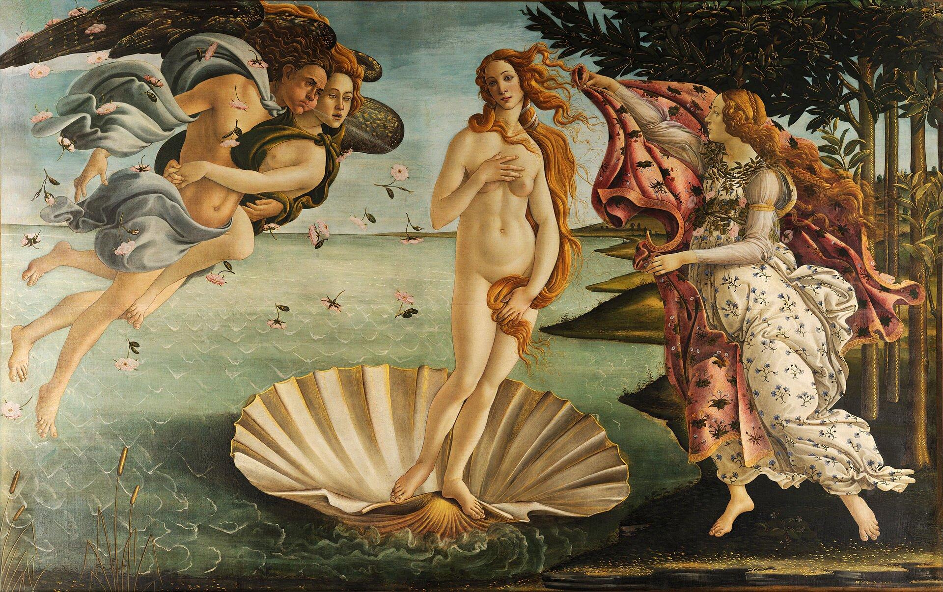 """Ilustracja przedstawia obraz """"Narodziny Wenus"""" autorstwa Sandro Botticellego. Wcentralnym miejscu dzieła ukazana jest postać nagiej, młodej dziewczyny zdługimi, pofalowanymi włosami, stojąca wunoszącej się na morzu, dużej białej muszli. Postać ustawiona jest wkontrapoście zgłową przechyloną wprawo, jej rude włosy, lekko unoszą się na wietrze. Prawa ręka lekko okrywa okrągłe piersi. Po lewej stronie obok Wenus unoszą się wpowietrzu dwie splecione ze sobą postacie Zefirów ze skrzydłami, które dmuchając starają się zepchnąć muszlę na brzeg. Po prawej stronie znajduje się postać Hordy - bogini pór roku. Ubrana wbiałą suknię wdrobny kwiecisty wzór kobieta trzyma czerwony płaszcz, którym stara się okryć postać Wenus. Prawą część tła wypełnia ciemny las. Dzieło, wykonane wtechnice tempery na płótnie, utrzymane jest wjasnej, ciepłej tonacji zdominacją ciepłych beży izielonkawych błękitów."""