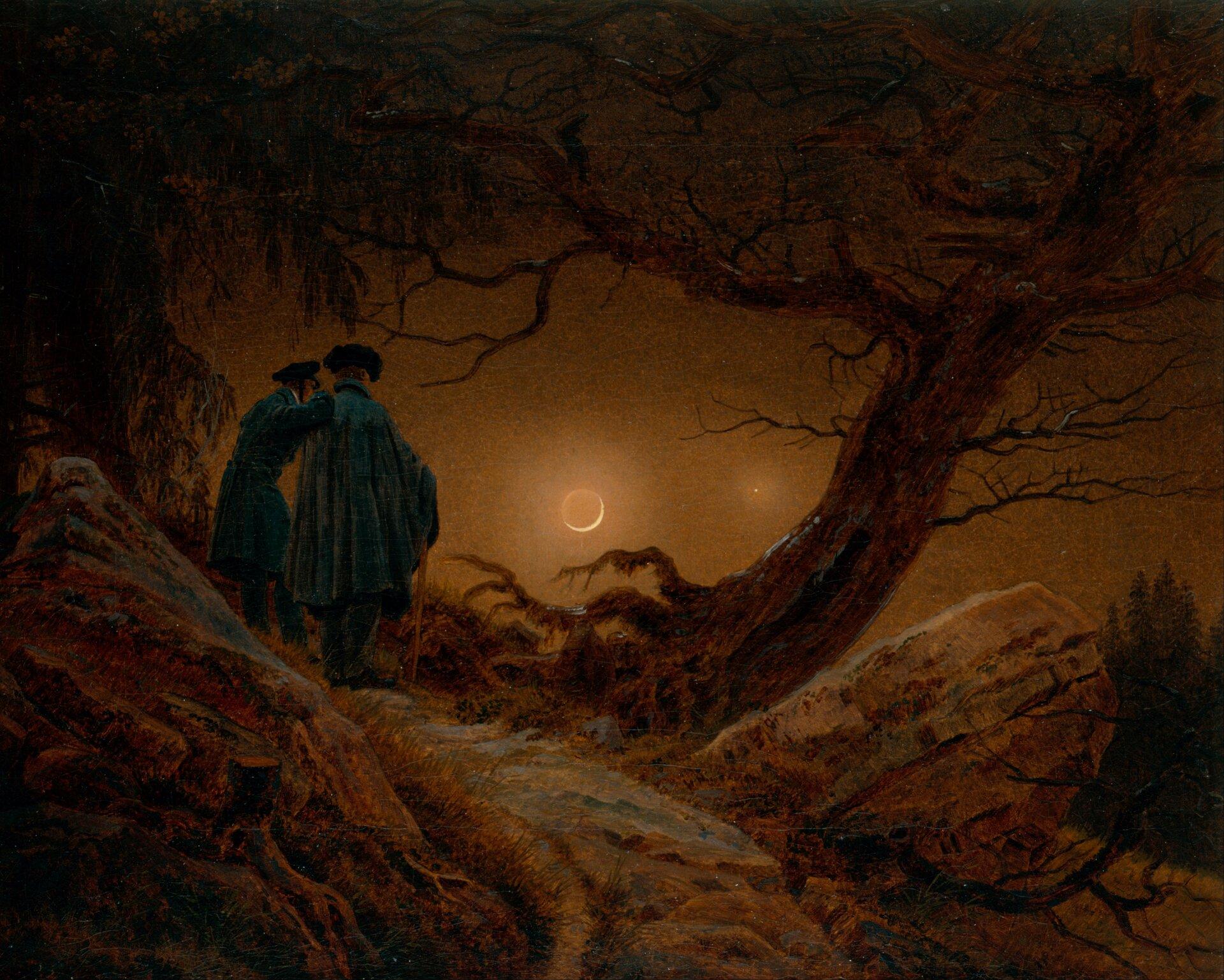 Zachód słońca Źródło: Caspar David Friedrich, Zachód słońca, 1830–1835, New Masters Gallery, Dresden, domena publiczna.