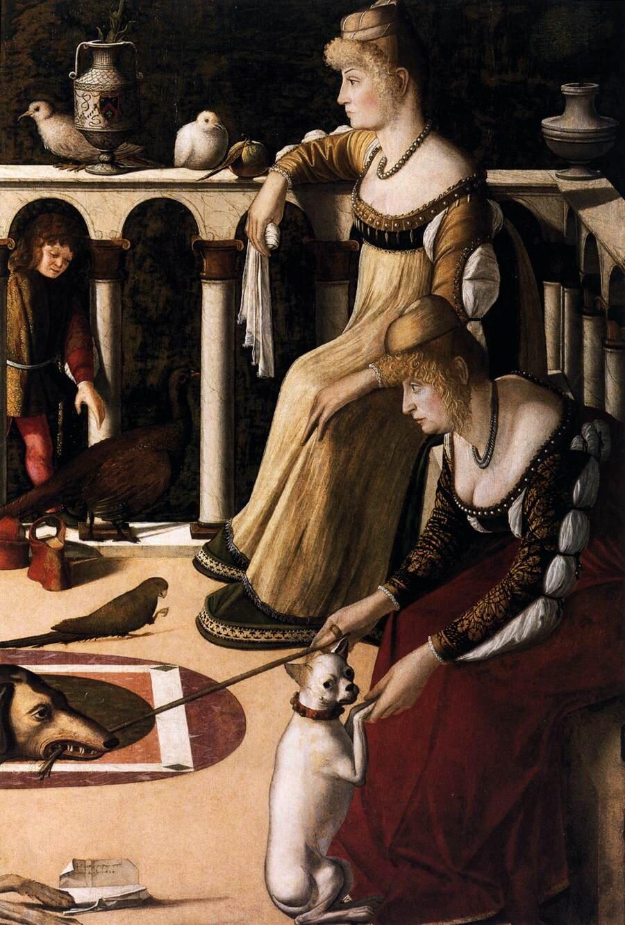 Dwie weneckie panie Źródło: Vittore Carpaccio, Dwie weneckie panie, olej na desce, Museo Correr, domena publiczna.