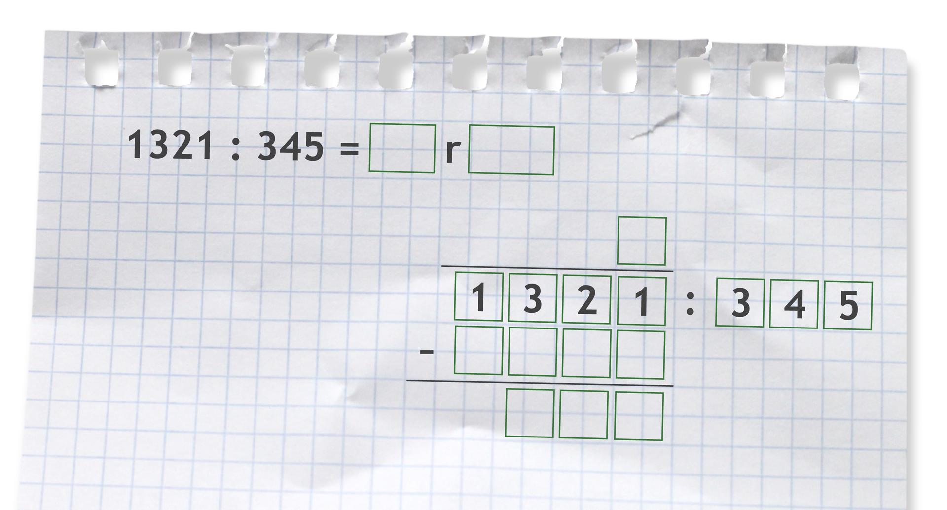 Miejsce do wykonania dzielenia zresztą: 1321 dzielone przez 345.