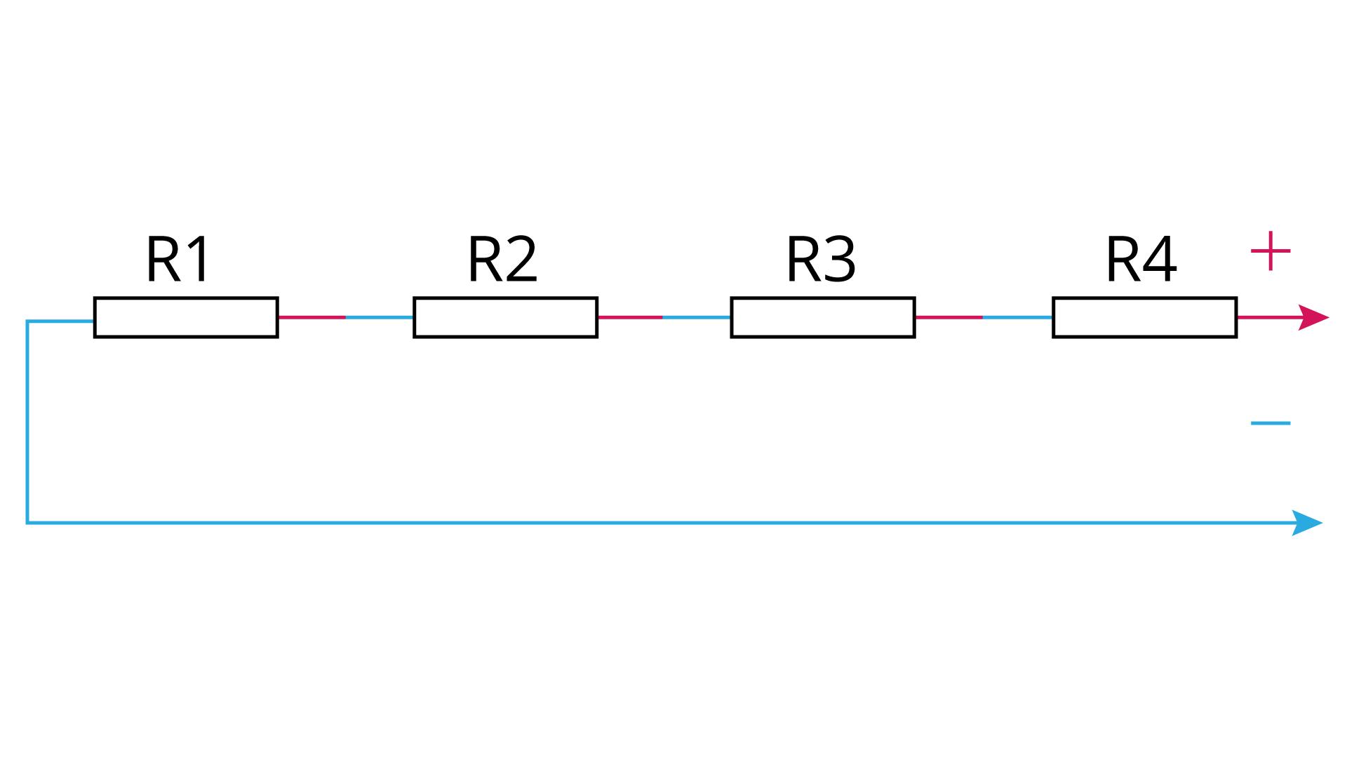 Uproszczony schemat kilku oporników połączonych szeregowo