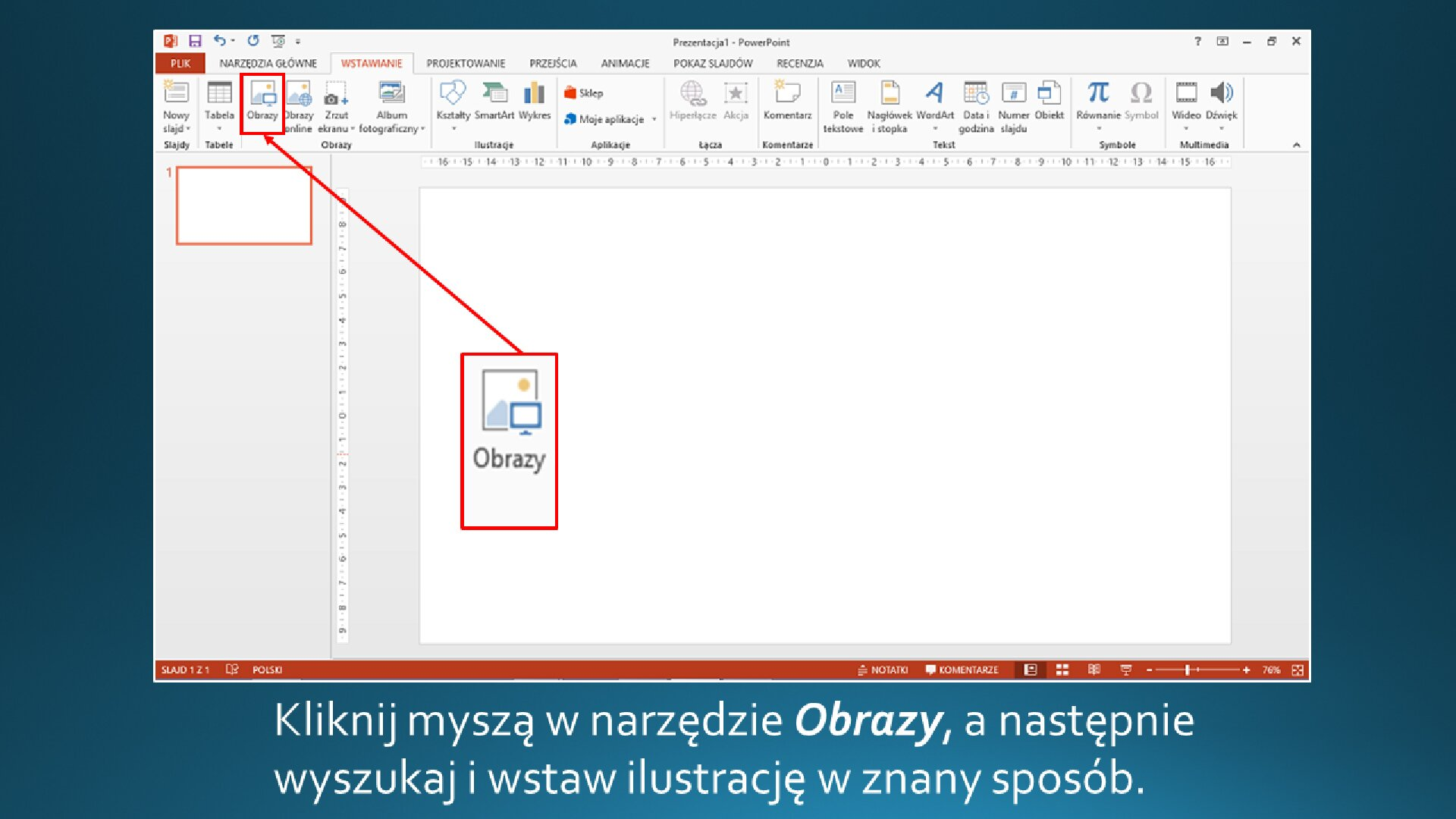 Slajd 2 galerii zrzutów slajdów: Wstawianie grafikii na slajd opustym układzie wprogramie MS PowerPoint