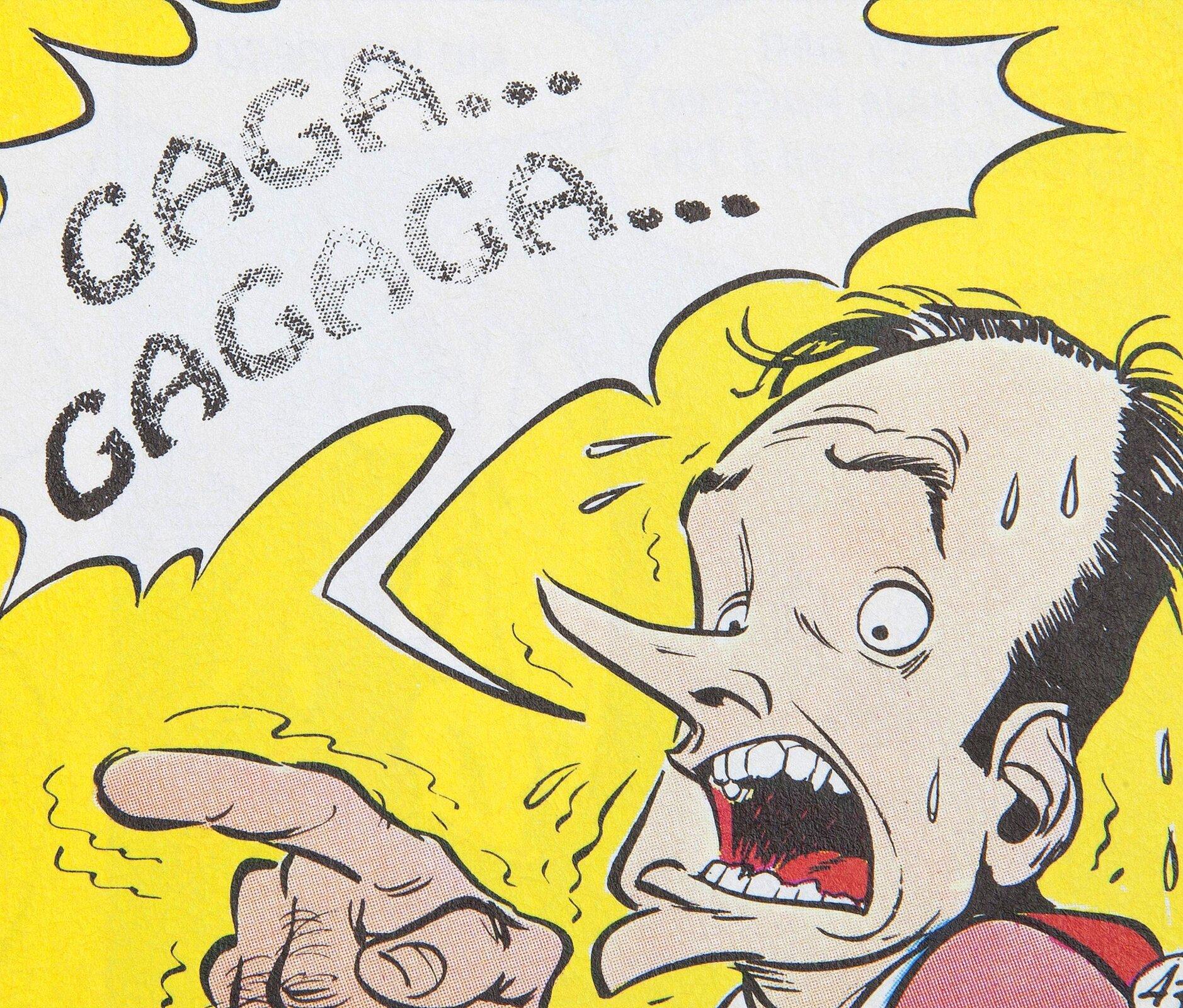 """Ilustracja przedstawia fragment komiksu """"Asterix. Obeliks ispółka"""". Ukazuje łysiejącego, przerażonego mężczyznę na żółtym tle, wskazującego przed siebie drżącym palcem. Jego usta są szeroko otwarte, azjego skroni kapie pot. Obok niego znajduje się kanciasty dymek ztekstem: Gaga... Gagaga..."""
