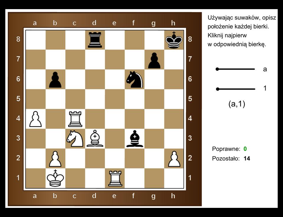 Animacja pokazuje planszę szachów wraz zumieszczonymi na niej figurami. Należy podać współrzędne położenia każdej zfigur.