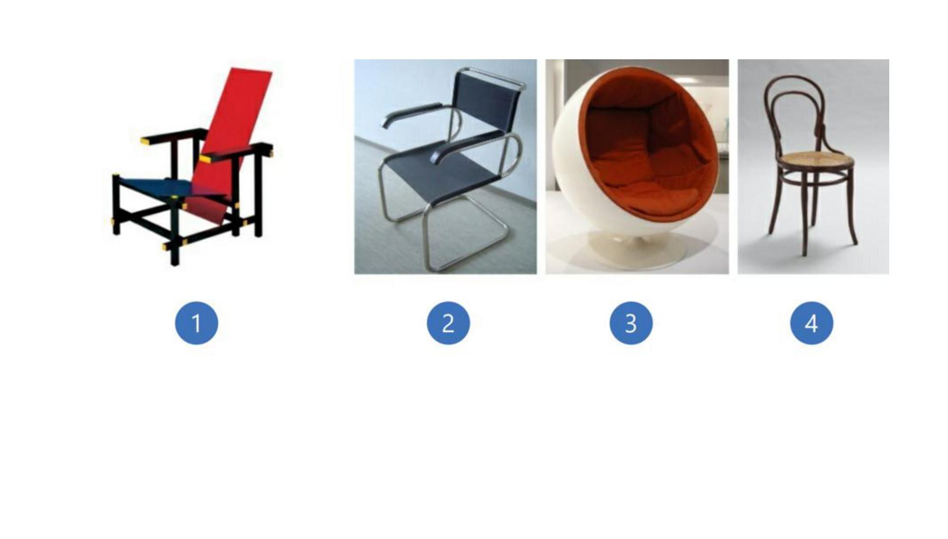 Wzadaniu znajdują się cztery ilustracje przedstawiające krzesła wróżnych stylach, krzesło oprostym kształcie zczerwonym oparciem iniebieskim siedziskiem tworzące razem kąt rozwarty, krzesło oprostej stalowej konstrukcji zgranatowym opraciem isiedziskiem, krzesło wkształcie dużych rozmiarów pólkuli zpomarańczowym siedziskiem oraz proste brązowe drewniane krzeslo na delikatnie wygiętych nóżkach, posiadające sitkowane siedzisko.