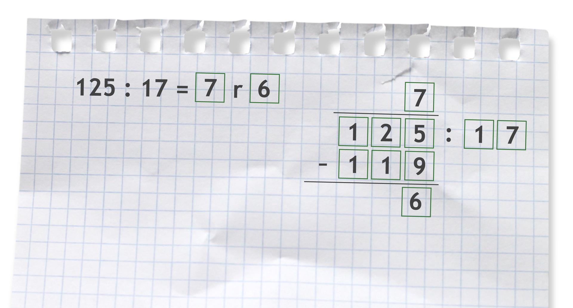 Przykład: 125 dzielone przez 17 =7 r6. Rozwiązanie zadania podpunkt a.