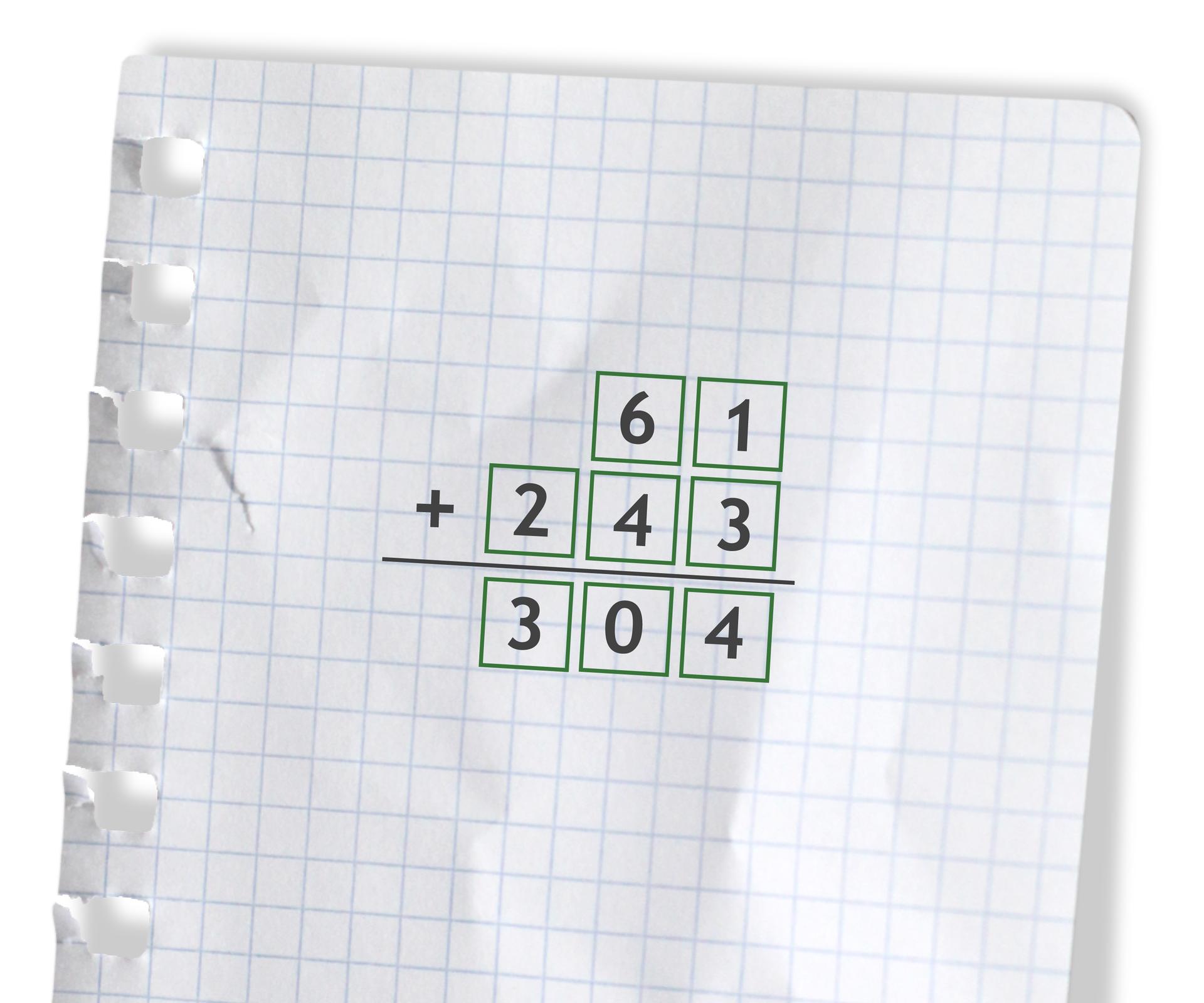Przykład: 61 +243 =304. Rozwiązanie zadania podpunkt d.